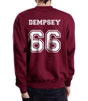 Dempsey 66 White Ink on Back Greys Anatomy Unisex Crewneck Sweatshirt - Meh. Geek