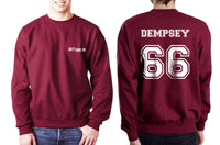 Dempsey 66 White Ink on Back Greys Anatomy Logo Pocket on Front Unisex Crewneck Sweatshirt - Meh. Geek