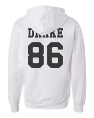 Drake 86 Black Ink on Back Drake Drizzy Unisex Pullover Hoodie - Meh. Geek