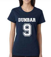 Dunbar 9 White Ink on front Beacon Hills Lacrosse Wolf Women T-shirt - Meh. Geek