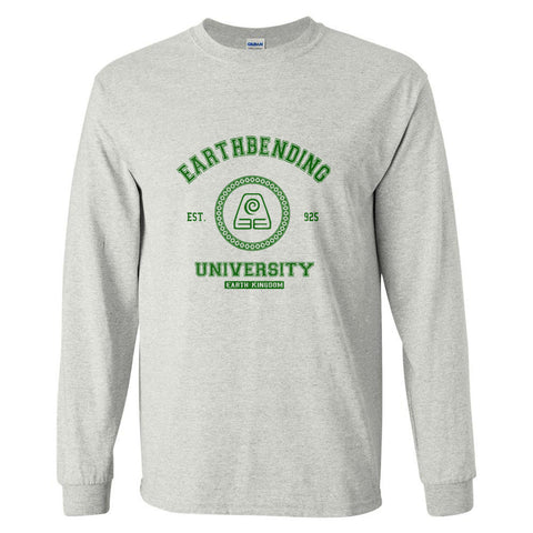 Earthbending University Green Ink print Avatar Earth bender Long Sleeve T-shirt for Men - Meh. Geek