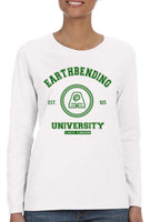 Earthbending University Green Ink print Avatar Earth bender Long sleeve T-shirt for Women - Meh. Geek