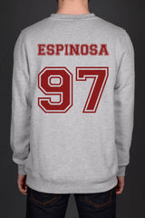 Espinosa 97 on Back Matthew Lee Espinosa Crewneck Sweatshirt - Meh. Geek