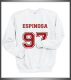Espinosa 97 Maroon Ink on Front Matthew Lee Espinosa Crewneck Sweatshirt - Meh. Geek
