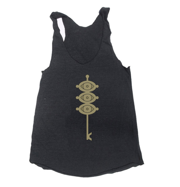 The Eye of the Midnight Sun Black Clover Triblend Racerback Women Tank Top
