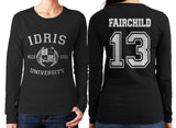 Fairchild 13 Idris University Long sleeve T-shirt for Women Black - Meh. Geek - 1