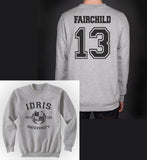 Fairchild 13 Idris University Unisex Crewneck Sweatshirt Heather Grey - Meh. Geek - 1