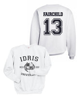 Fairchild 13 Idris University Unisex Crewneck Sweatshirt White - Meh. Geek - 1