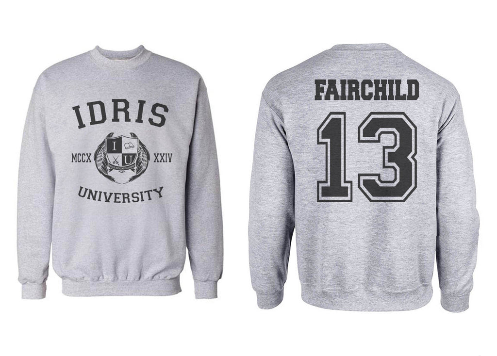 Fairchild 13 Idris University Unisex Crewneck Sweatshirt Heather Grey Adult