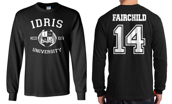 Fairchild 14 Idris University Long Sleeve T-shirt for Men Black - Meh. Geek - 1