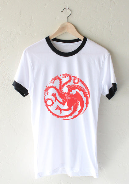 Fire And Bloods Targaryen Sigil Ringer Unisex T-shirt / tee