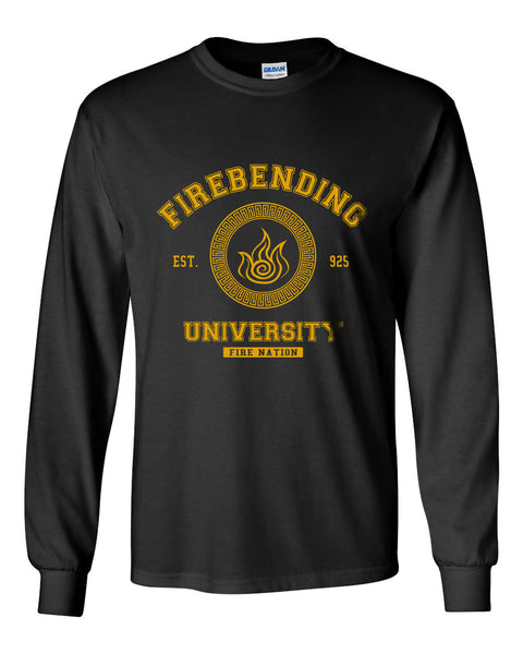 Firebending University Yellow Ink print Avatar Fire bender Long Sleeve T-shirt for Men - Meh. Geek