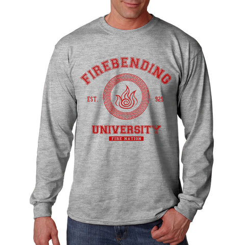 Firebending University Maroon Ink print Avatar Fire bender Long Sleeve T-shirt for Men - Meh. Geek