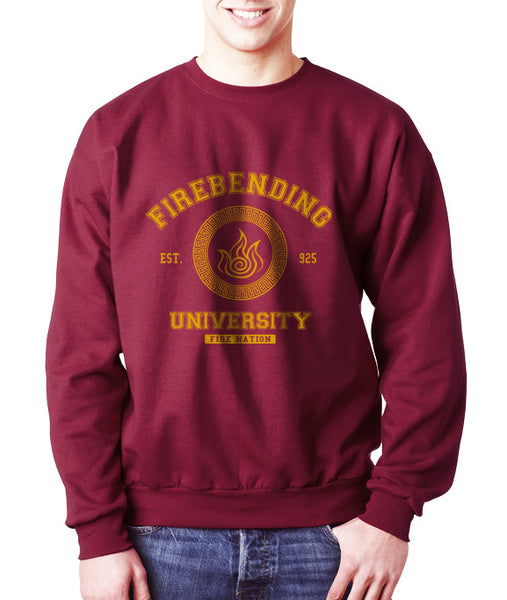 Firebending University Yellow Ink print Avatar Fire bender Unisex Crewneck Sweatshirt - Meh. Geek