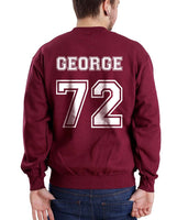 George 72 White Ink on Back Greys Anatomy Unisex Crewneck Sweatshirt - Meh. Geek