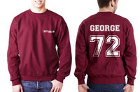 George 72 White Ink on Back Greys Anatomy Logo Pocket on Front Unisex Crewneck Sweatshirt - Meh. Geek