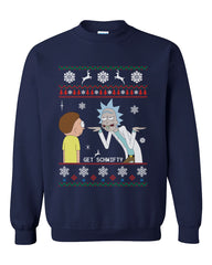 2# Get Schwifty Rick and Morty Ugly Sweater Unisex Crewneck Sweatshirt - Meh. Geek - 3