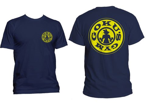 Goku's Gym #1 Front and back Men T-shirt tee Navy