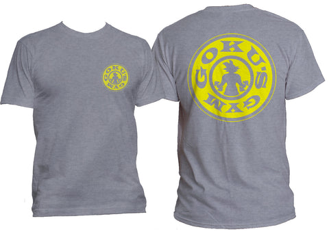 Goku's Gym #1 Front and back Men T-shirt tee Sport Grey