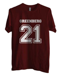 Greenberg 21 on front Beacon Hills Lacrosse Wolf Men T-shirt