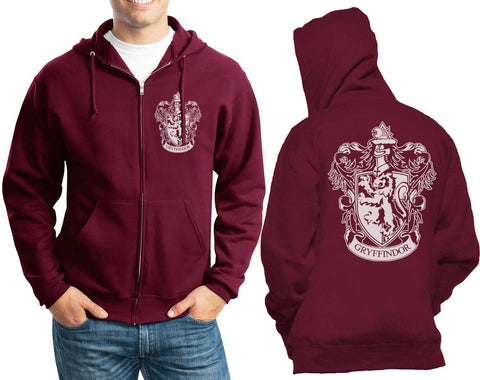 Gryffindor #1 Crest White Front pocket and back full Unisex Zip Up Hoodie Maroon Adult