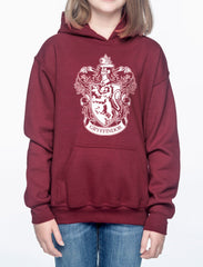 Customize - Gryffindor Crest #1 White ink Kid / Youth Hoodie Maroon