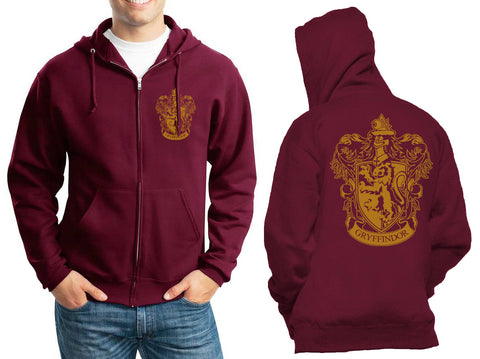 Gryffindor #1 Crest Yellow Front pocket and back full Unisex Zip Up Hoodie Maroon Adult
