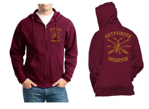 Gryffindor CAPTAIN Quidditch Team Front pocket and back full Unisex Zip Up Hoodie Maroon Adult
