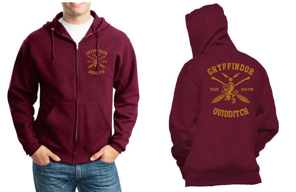 Gryffindor BEATER Quidditch Team Front pocket and back full Unisex Zip Up Hoodie Maroon Adult