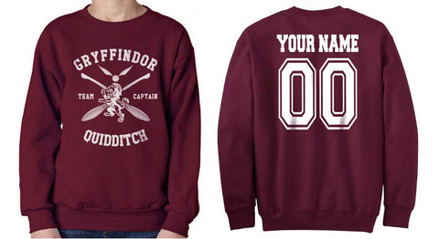 Customize - New Gryffindor CHASER Quidditch Team White ink Unisex Crewneck Sweatshirt Maroon (Adult)