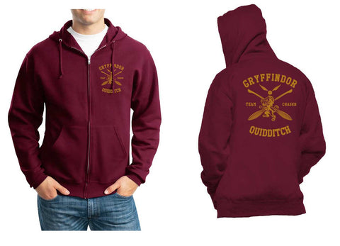 Gryffindor CHASER Quidditch Team Front pocket and back full Unisex Zip Up Hoodie Maroon Adult