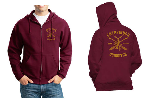 Gryffindor KEEPER Quidditch Team Front pocket and back full Unisex Zip Up Hoodie Maroon Adult