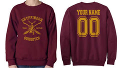Customize - New Gryffindor CAPTAIN Quidditch Team Unisex Crewneck Sweatshirt Maroon (Adult)