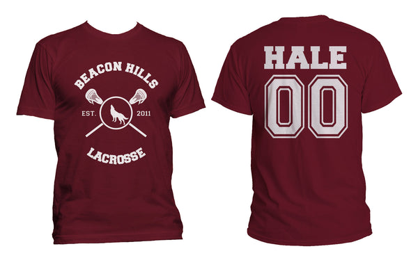 Hale 00 On Back Beacon Hills Lacrosse Wolf Front Men T-shirt / Tee
