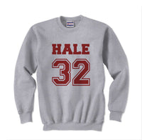 Hale 32 on front Maroon Ink Beacon Hills Lacrosse Wolf Crewneck Sweatshirt Adult