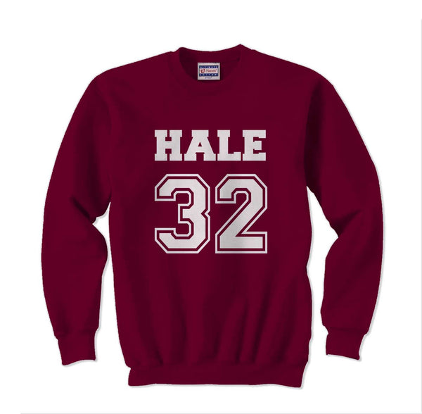 Hale 32 on front White Ink Beacon Hills Lacrosse Wolf Crewneck Sweatshirt Adult