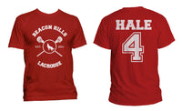 Hale 4 On Back Beacon Hills Lacrosse Wolf Logo Front Men T-shirt / Tee