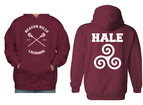 Hale Alpha Beta Omega on back Beacon Hills Lacrosse CROSS Pullover Hoodie