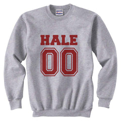 Hale 00 on front Maroon Ink Beacon Hills Lacrosse Wolf Crewneck Sweatshirt - Meh. Geek
