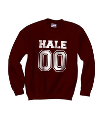 Hale 00 on front White Ink Beacon Hills Lacrosse Wolf Crewneck Sweatshirt - Meh. Geek