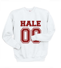 Hale 00 on front Maroon Ink Beacon Hills Lacrosse Wolf Crewneck Sweatshirt Adult