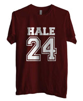 Hale 24 White Ink on front Beacon Hills Lacrosse Wolf Men T-shirt