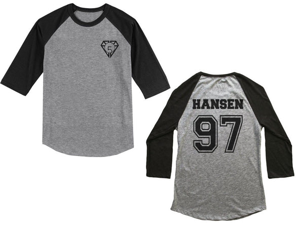 Hansen 97 on back, Fifth harmony pocket logo Unisex 3/4 Raglan Tee Sport Grey Black