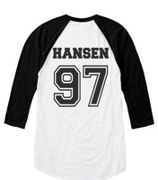 Hansen 97 on back, Fifth harmony pocket logo Unisex 3/4 Raglan Tee White Black