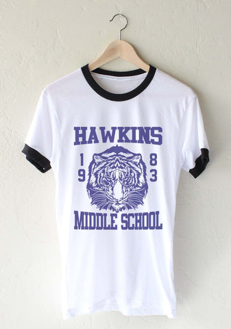 Hawkins Middle School 1983 Stranger Things Ringer Unisex T-shirt / tee