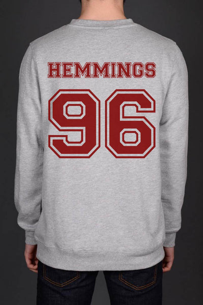 Hemmings 96 Maroon Ink on Back Luke Hemmings Unisex Crewneck Sweatshirt - Meh. Geek