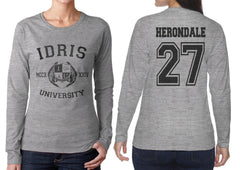 Herondale 27 Idris University Long sleeve T-shirt for Women Sport Grey - Meh. Geek - 1