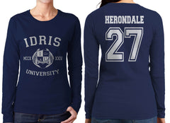 Herondale 27 Idris University Long sleeve T-shirt for Women Navy - Meh. Geek - 1