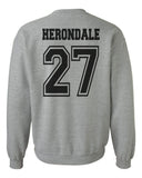 Herondale 27 Idris University Shadowhunters Unisex Crewneck Sweatshirt Heather Grey Adult