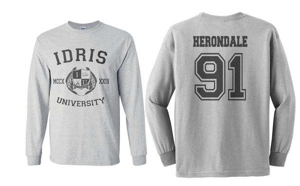 Herondale 91 Idris University Long Sleeve T-shirt for Men Sport Grey - Meh. Geek - 1